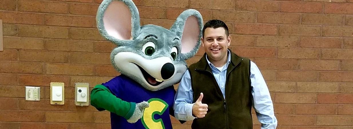 Principal with Chucky Cheese