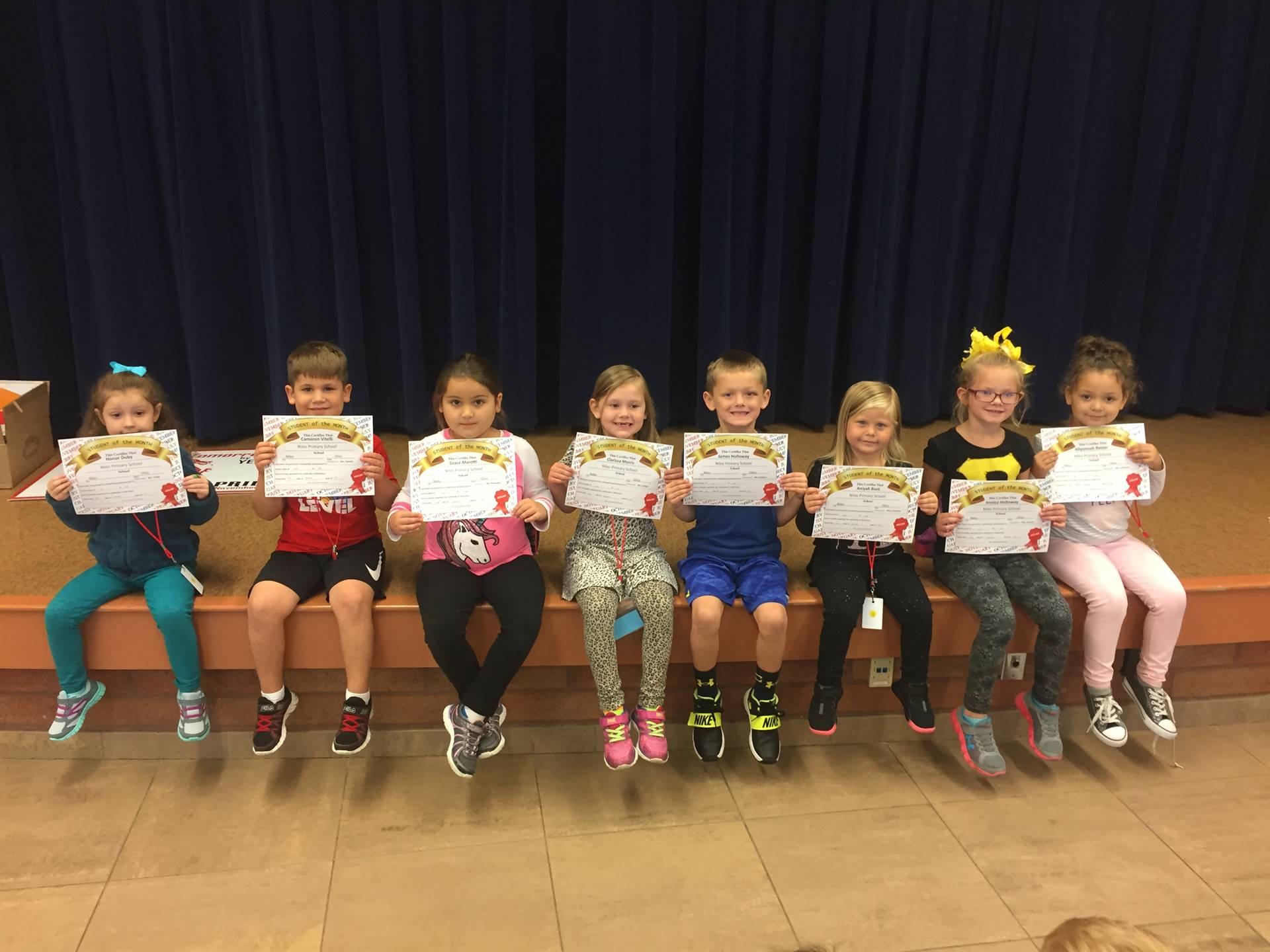 September 2017 Student of the Month--Kindergarten
