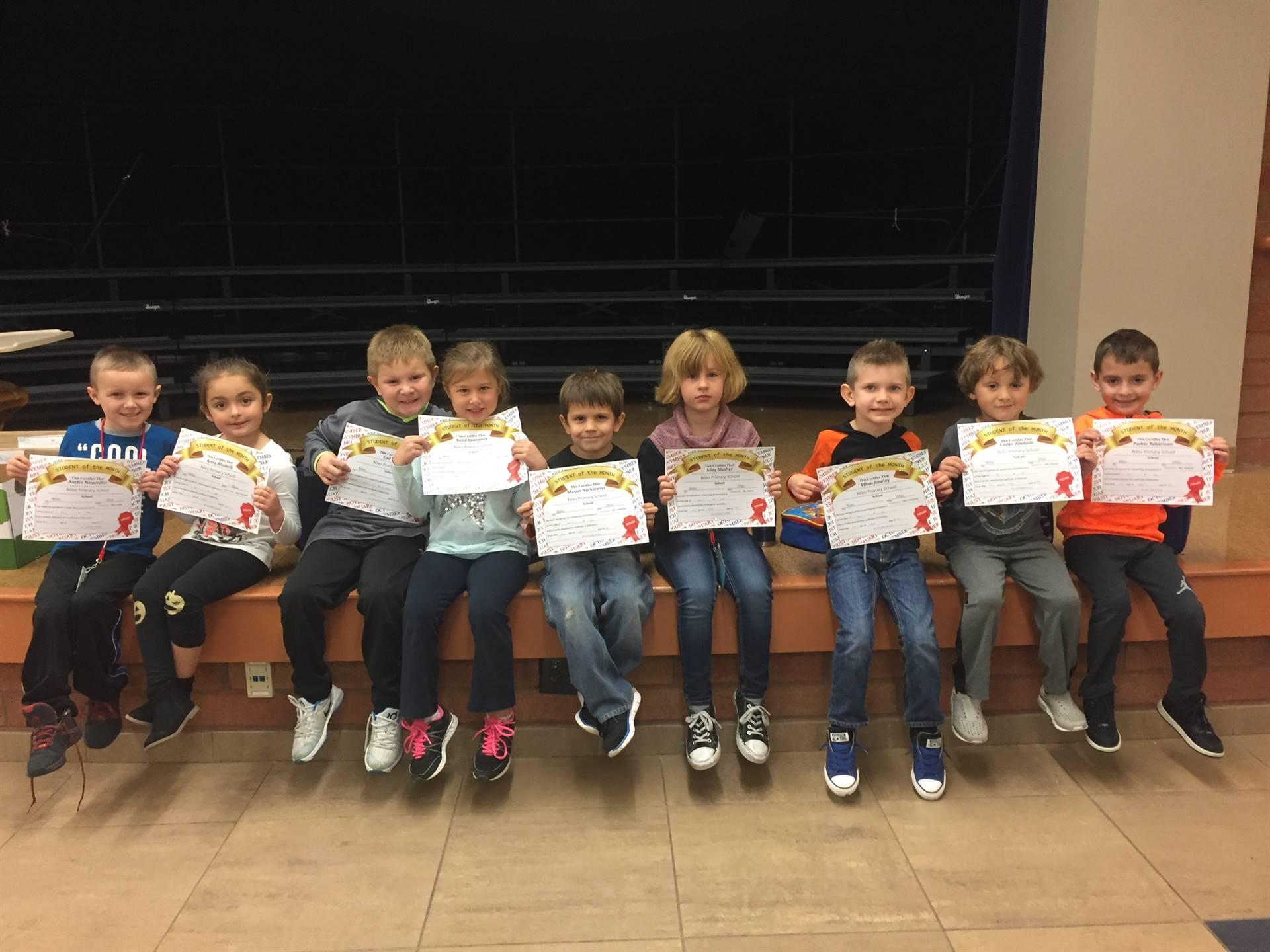 October 2017 Student of the Month--Kindergarten