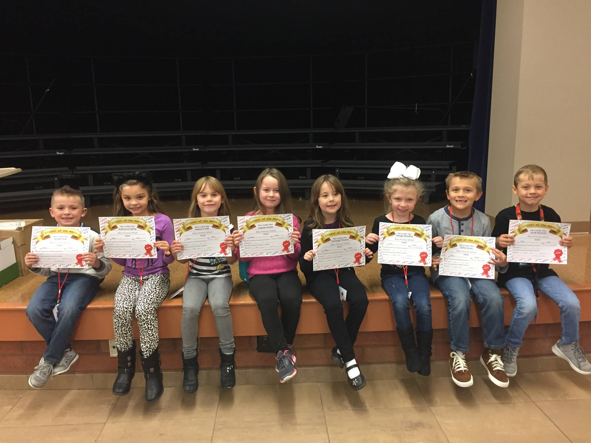 October 2017 Student of the Month--Grade One