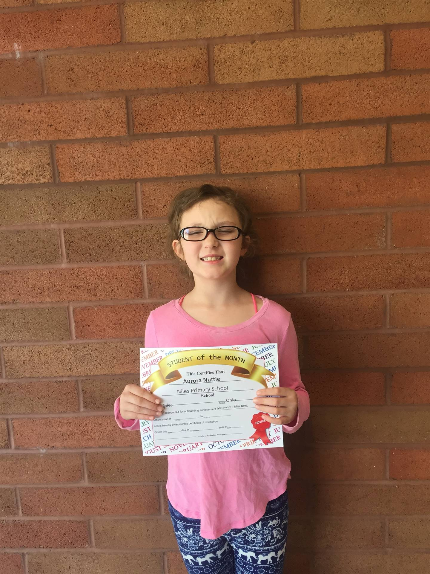 Miss Betts class, November 2017 Student of the Month