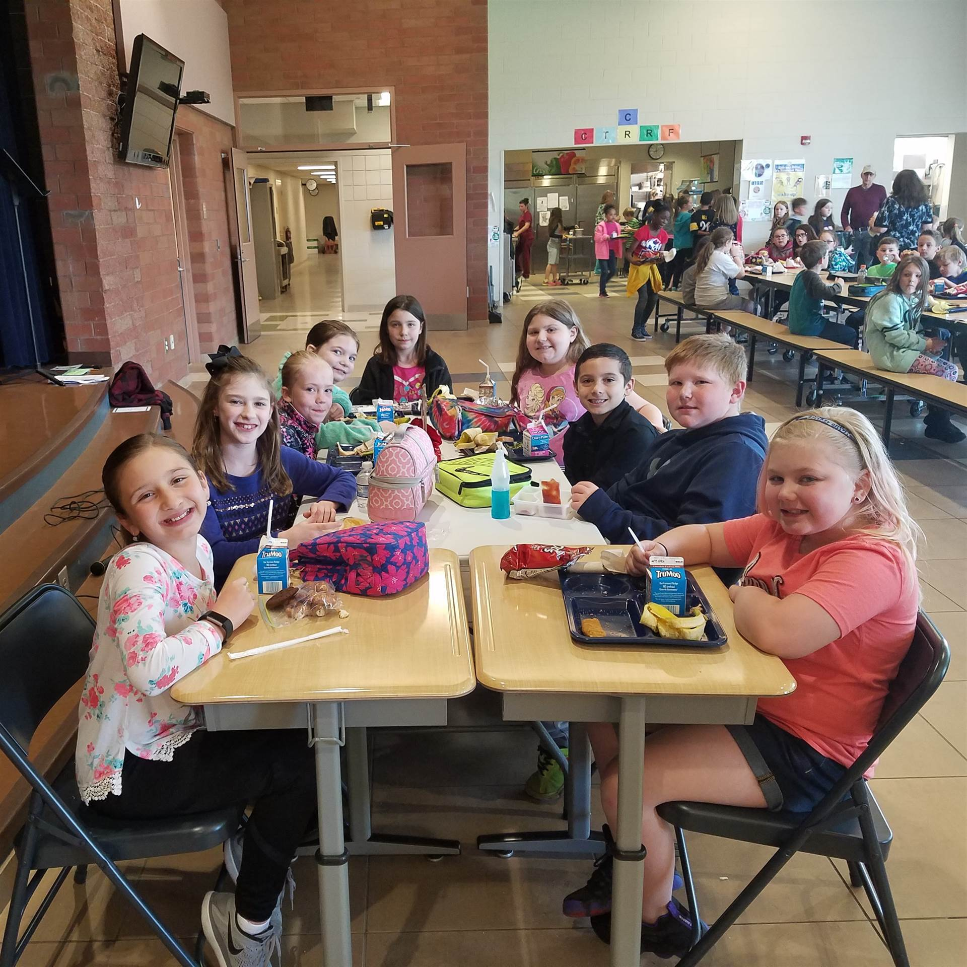 Third grade Students of the Month Lunch for April_Fairness_Amaiya Baughman, Abby Morgan, Mason Pipes