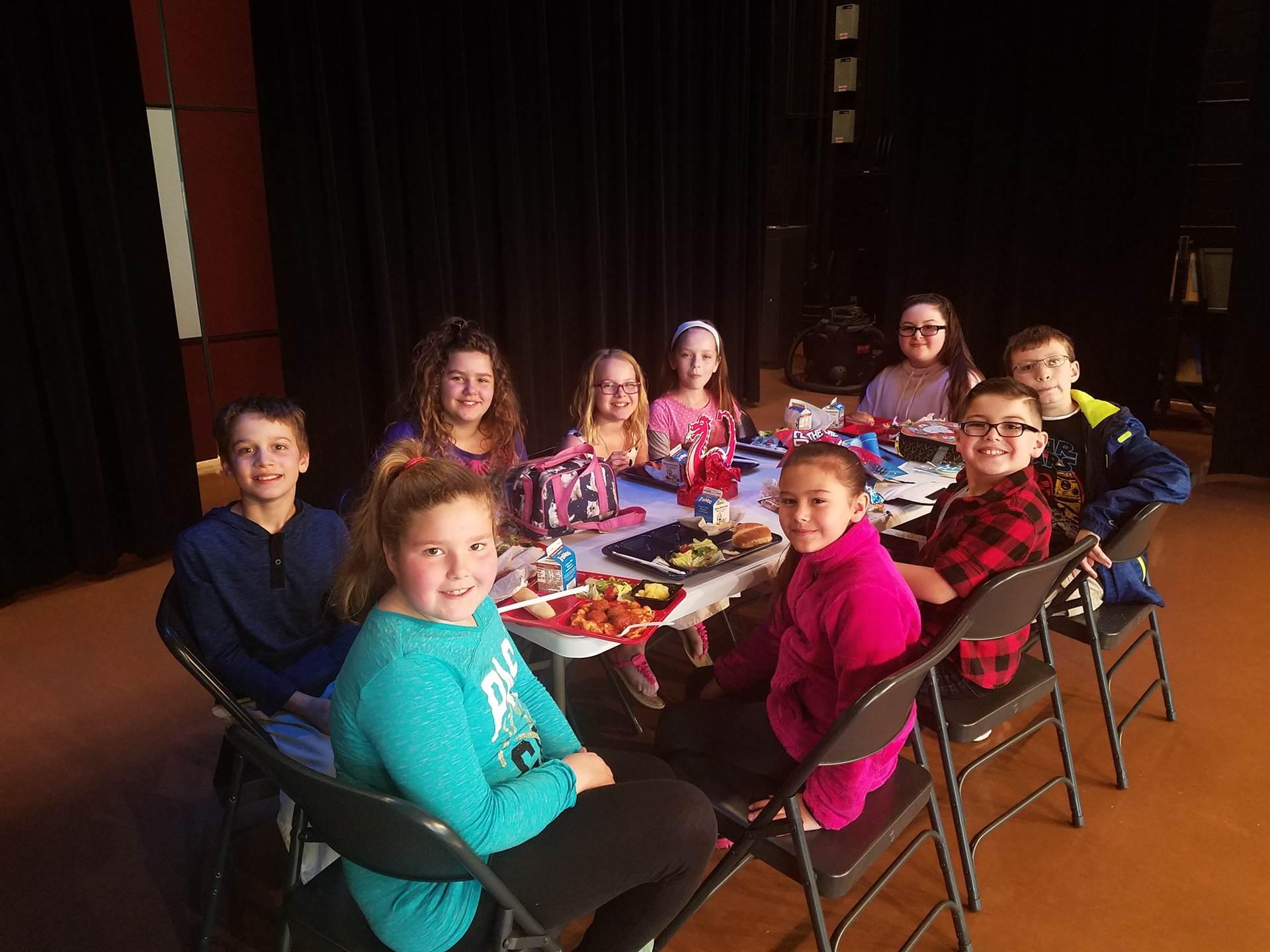 Fourth grade Students of the Month lunch_April_Fairness_Ava Elliot, Aubrey Baez, Craig Beheler, Morg