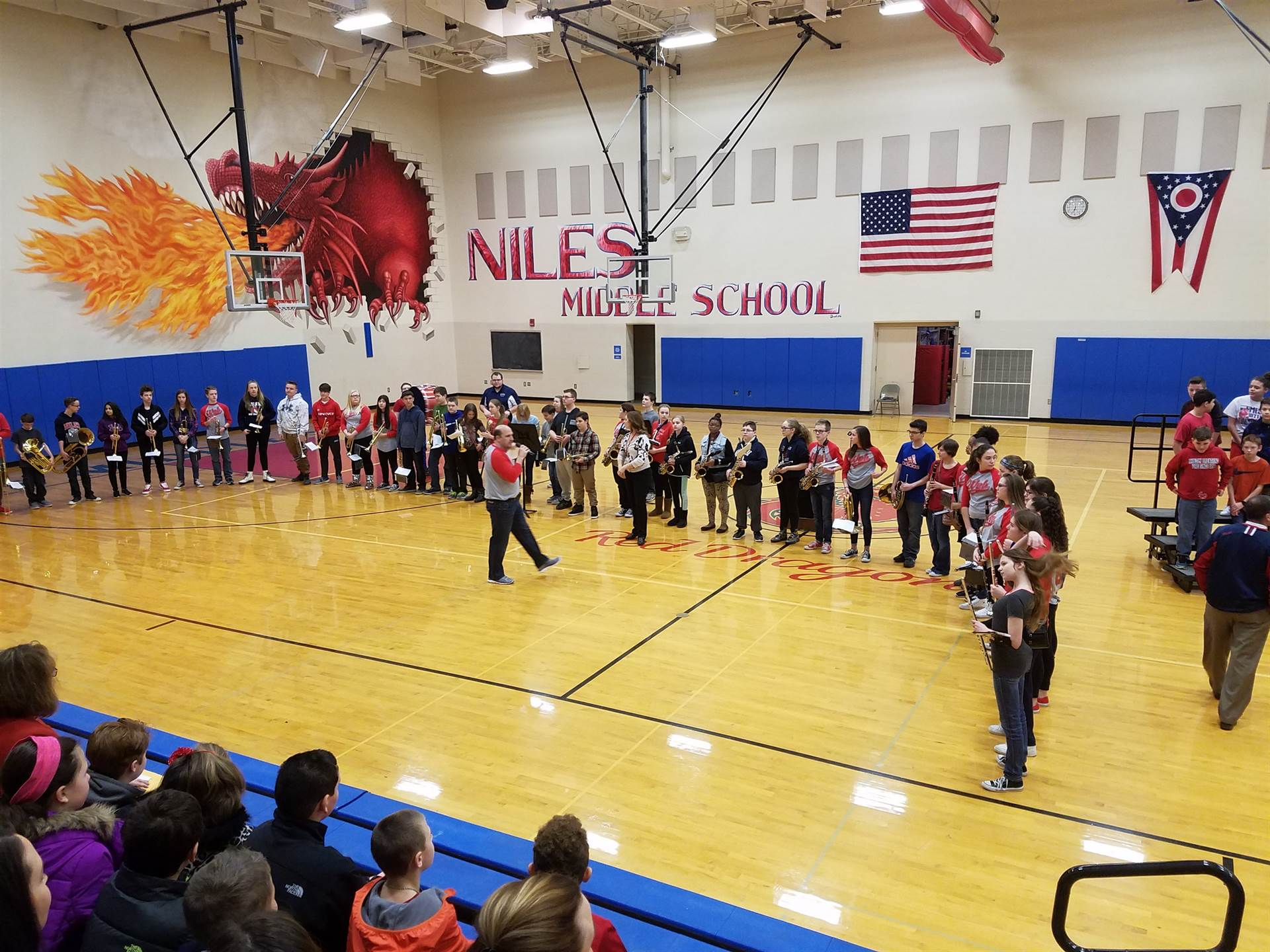 NMS Band plays for the 5th grade visit. :)