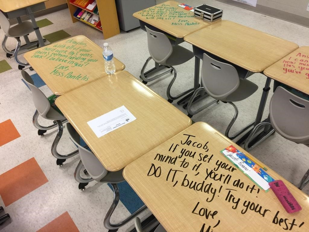 Positive thoughts written to students on their desks with dry erase markers. ~ Thank you Miss Pantel