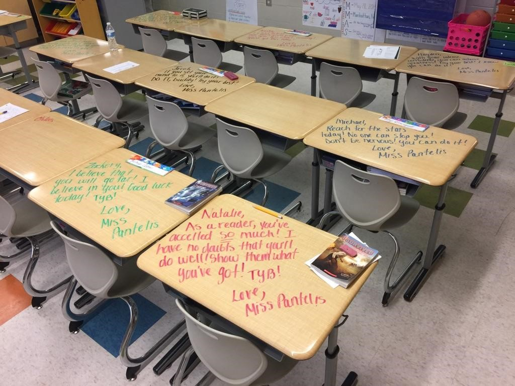 Positive thoughts written to students with dry erase markers. ~Thank you Miss Pantelis! :