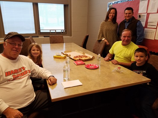 Pizza with the Principal winners for November (Preston Vlasic/Autumn Melvin) with NCS Bus Drivers Mr