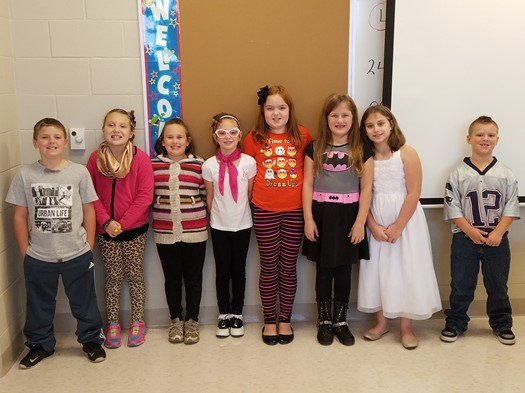 """Students of the Month (October) in Third Grade chosen by their teachers for high marks in """"Resp"""