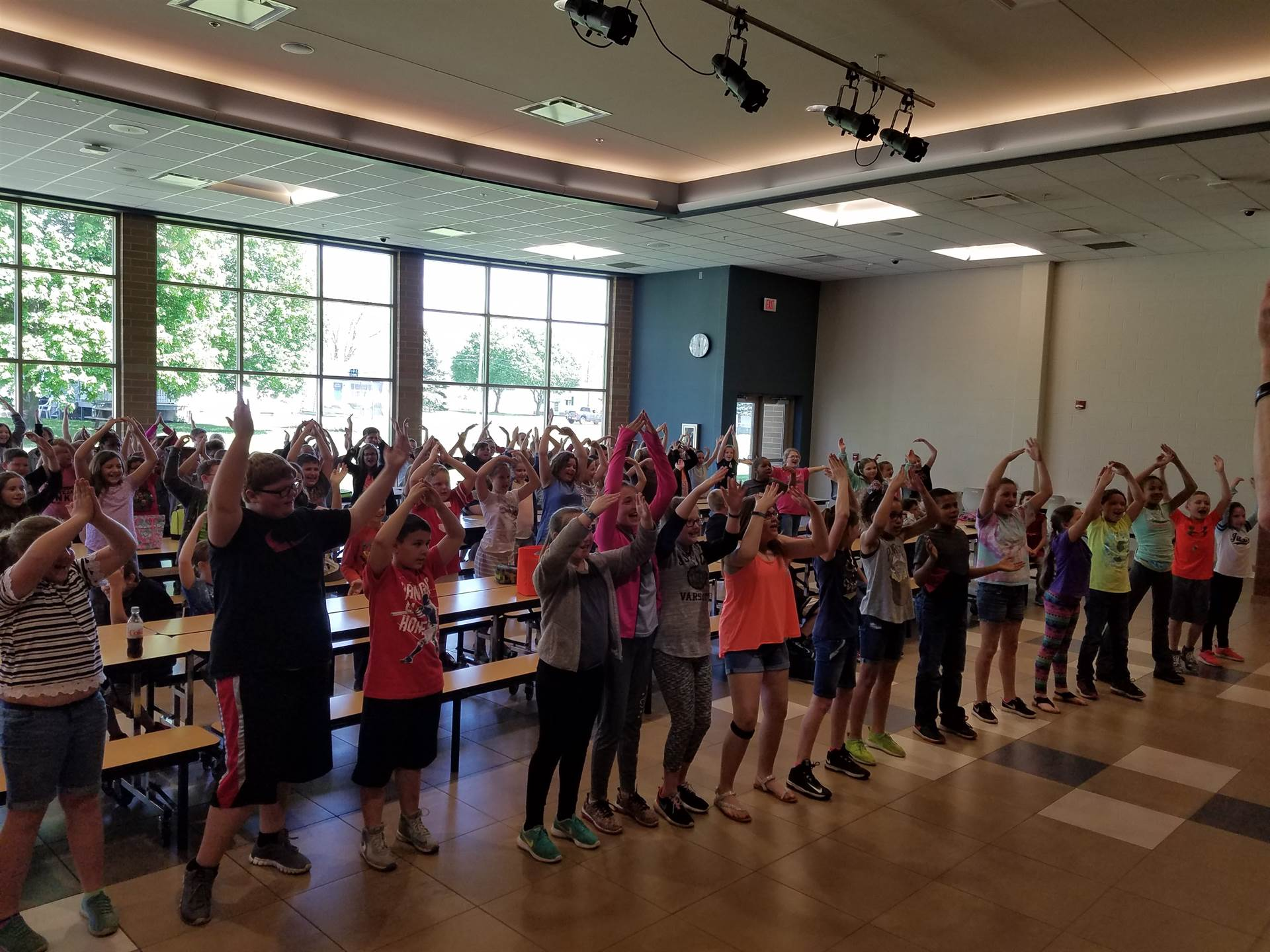 """Fun at lunch! 4th Graders were lead by Mrs. Tominey and Mrs. Megert in dancing to the """"YMCA&quo"""