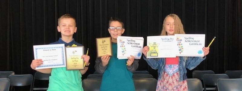 Spelling Bee Champion:  Jacob Halloway, Runner-Up:  Tyler Haydu, Third Place: Savanna Court