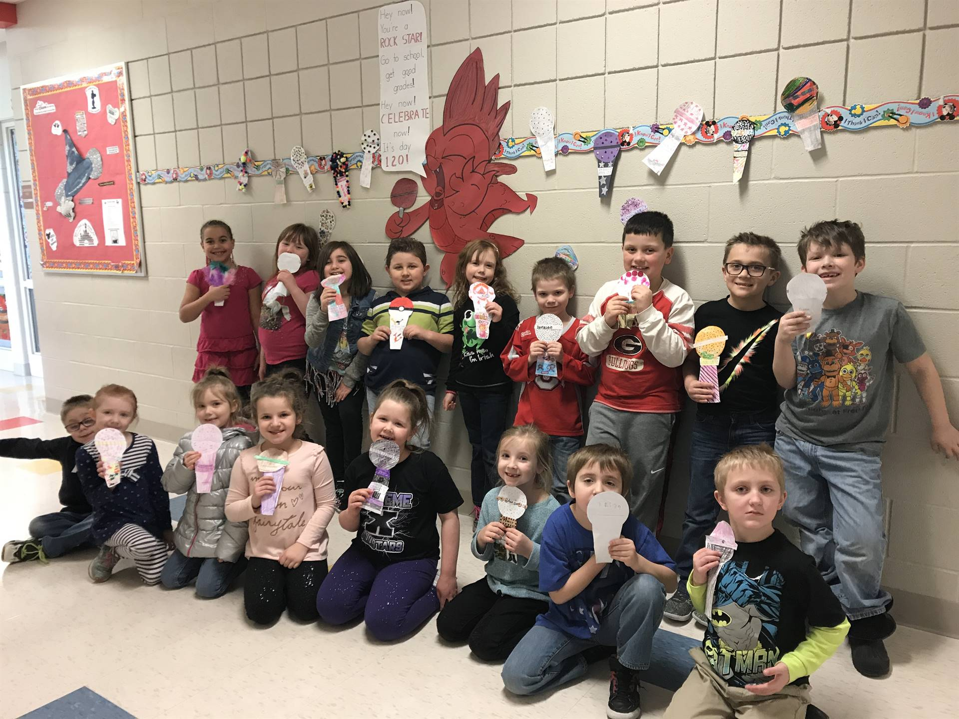 Mrs. Lehman's class celebrating the 120th day of school