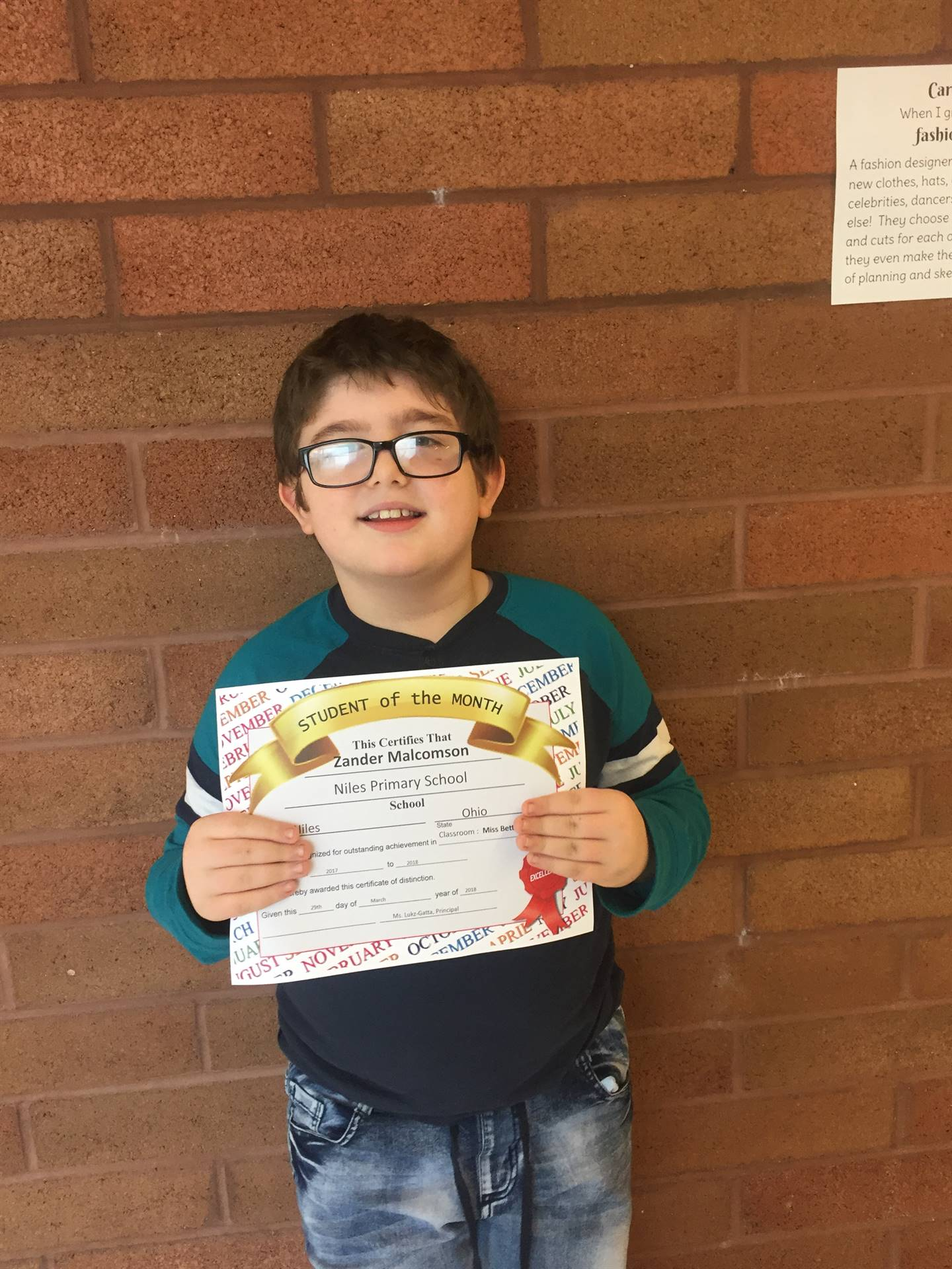 March 2018 Student of the month Ms. Bett's room