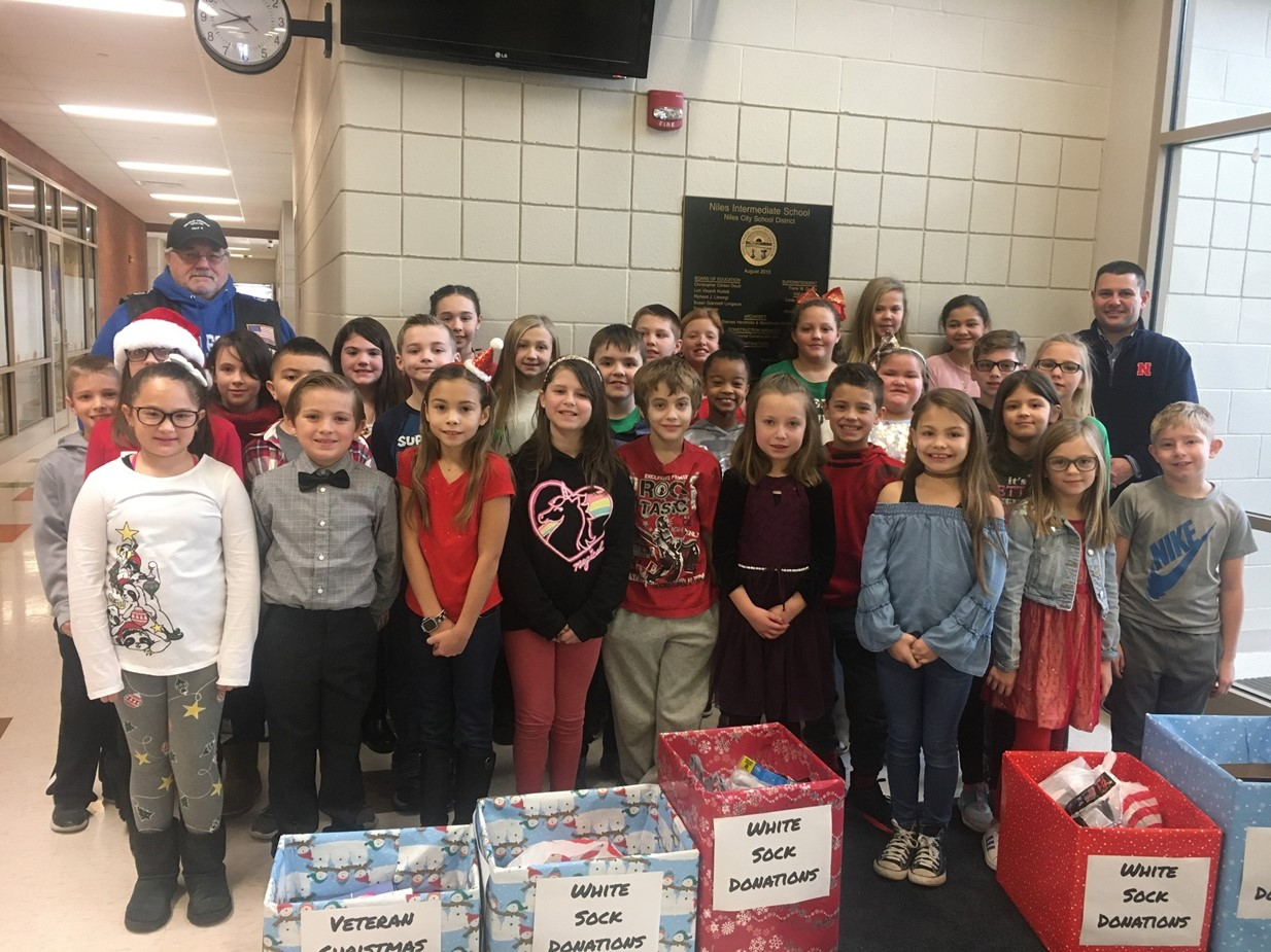 NIS students donated socks for local veterans